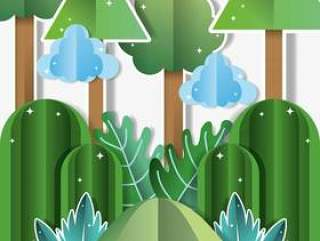 Paper landscape cartoons