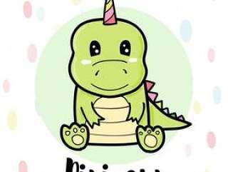 Dinicorn可爱的卡通,绿色恐龙
