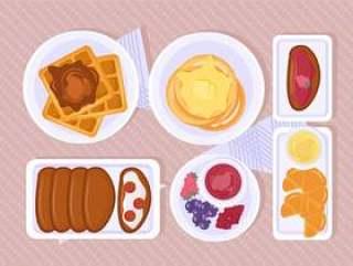 矢量早餐场景