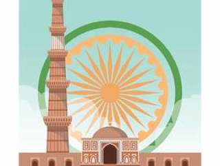 库图大厦印度地标矢量图
