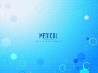 与六角形状的医疗保健蓝色背景设计