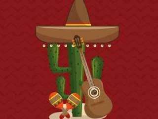 与墨西哥文化象的仙人掌
