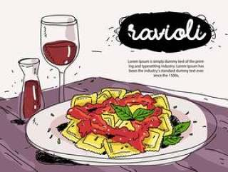 在板材手拉的传染媒介例证的意大利食物馄饨