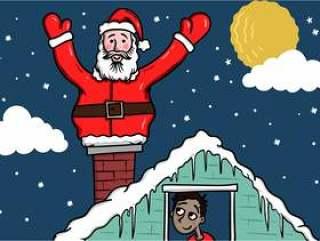圣诞老人在屋顶上