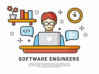 软件工程师在家庭矢量工作