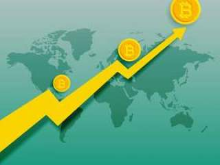 比特币上升趋势上升图矢量背景