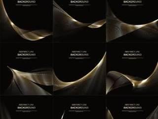 40款奢华华丽金色黑金白金线条矢量图形纹理素材