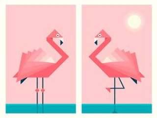在几何折纸纸艺术风格的火烈鸟