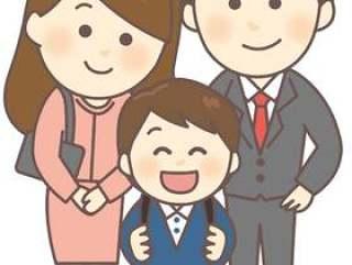 与父母和孩子(小学儿子)纪念照片