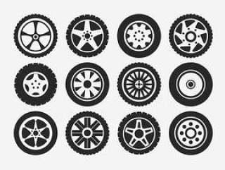 轮毂罩轮胎和车轮图标集