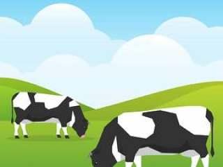 母牛在自然背景例证的一个好晴天领域吃草