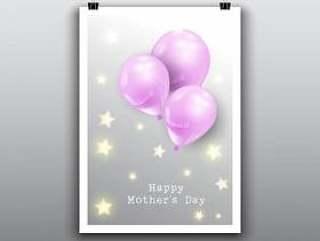 快乐的母亲'与气球的卡片设计