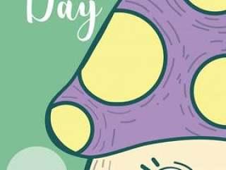 可爱的快乐一天卡与蘑菇卡通