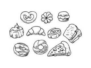 面包店手绘图标矢量