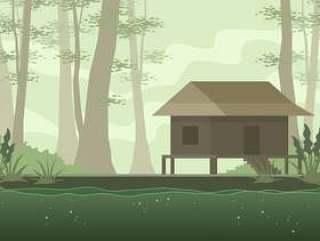 在河口 矢量的老房子