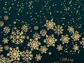 与金黄雪花的圣诞节背景