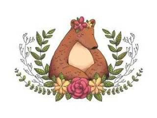 花冠,叶子和花的逗人喜爱的动物森林熊