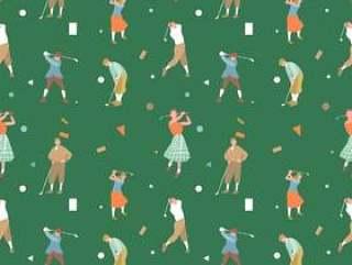 老式高尔夫无缝模式矢量