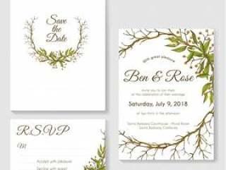 婚礼邀请卡设置与叶子和树枝圈框架