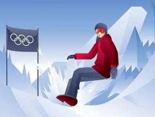 单板滑雪冬季矢量