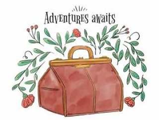 叶子,分支和鲜花的复古手提箱