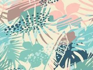 无缝外来模式与热带植物。