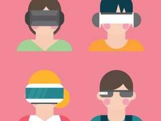 使用虚拟现实眼镜的人们
