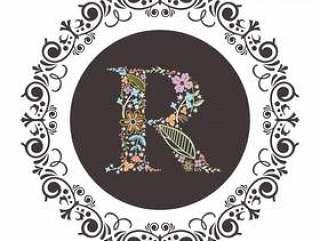 字母R首字母与花卉矢量