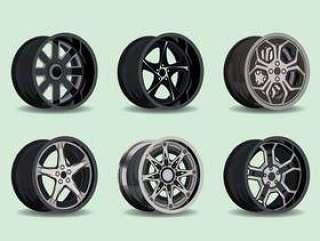 金属轮毂罩集合矢量图