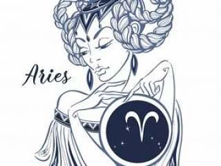 Zodiac sign Aries as a beautiful girl. Horoscope.