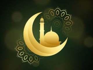 与伊斯兰教的节日的清真寺的新月形月亮