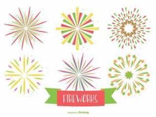五颜六色的烟花形状在白色背景上