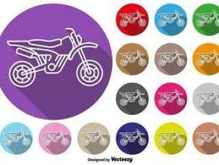 摩托车越野摩托车图标矢量彩色按钮