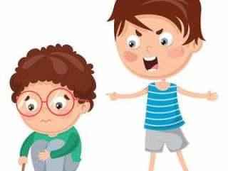 孩子喊他的朋友的传染媒介例证
