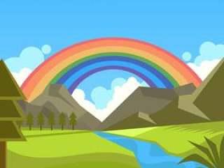 在自然向量的彩虹背景