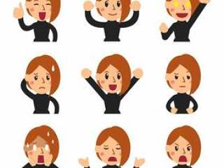 矢量卡通套的女人脸上显示设计不同的情感