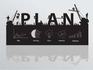 Vector construction site crane building plan text