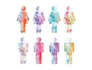 矢量水彩男人和女人的符号