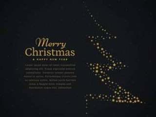 用星星在黑色背景下创意圣诞树设计