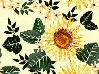 在淡黄色的向日葵无缝的样式