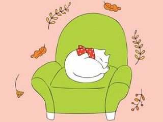 卡通可爱的秋天猫睡觉矢量。