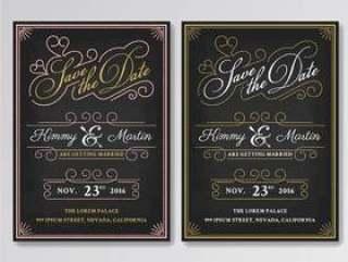 老式黑板保存日期婚礼邀请模板。 EA