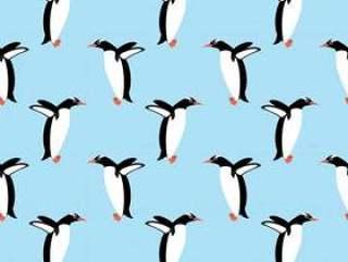 在深蓝背景的无缝的企鹅传染媒介样式