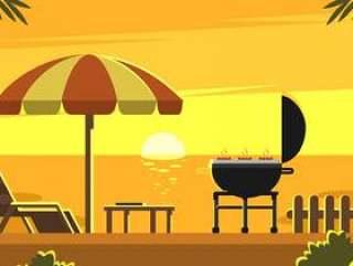 日落后院烧烤矢量