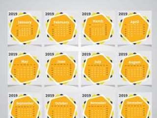 Yellow Calendar 2019