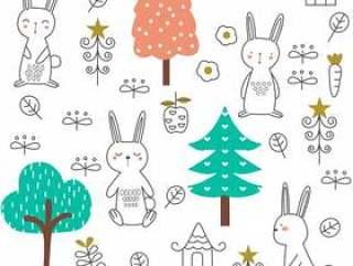 可爱的小宝贝兔无缝模式