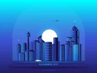未来城市城市景观矢量背景