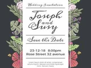 可爱的婚礼保存日期邀请与花朵和叶子