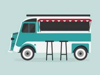 蓝色食物卡车
