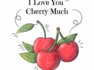 水彩樱桃与励志报价和播放词